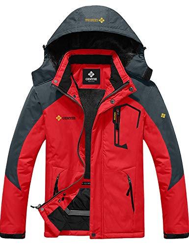 GEMYSE Chaqueta de esquí Impermeable de montaña para Hombre Abrigo de Invierno al Aire Libre de Lana a Prueba de Viento con Capucha (Roja Gris,L)