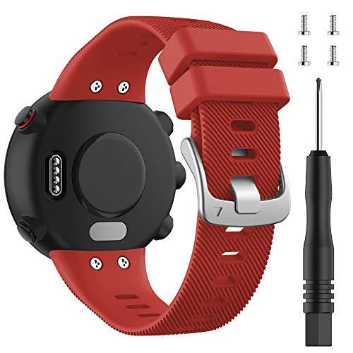 Cytech Cinturino per Garmin Forerunner 45, Garmin Swim 2 Cinturino, Braccialetto di Ricambio Orologio da Polso di Ricambio in Silicone Bracciale (rosso)