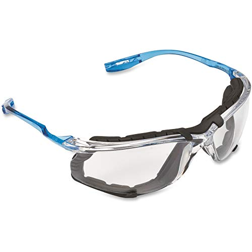 3M - 11872-00000-20 Safety Glasses, Virtua CCS, ANSI Z87, Anti-Fog, Clear Lens, Blue Frame, Corded Ear Plug Control System, Removable Foam Gasket