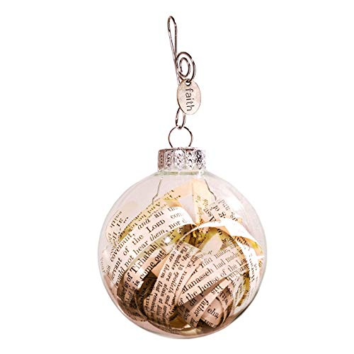 Rescued Antique Bible Pages Glass Globe Gift Ornament with Faith Charm and Quote Card by Dorinta.