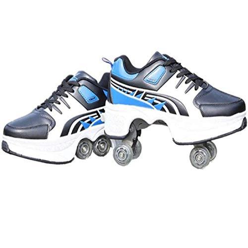 WEDSGTV Deform Wheels Skates Roller Shoes,Zapatillas De Deporte Casuales Patines para Caminar,Hombres Mujeres Runaway Patines De Cuatro Ruedas,G-38
