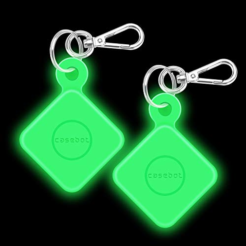 [2 Pack] Fintie Silicone Case with Carabiner Keychain for Tile Pro (2020 & 2018), Anti-Scratch Lightweight Soft Protective Sleeve Skin Cover, Green-Glow in The Dark