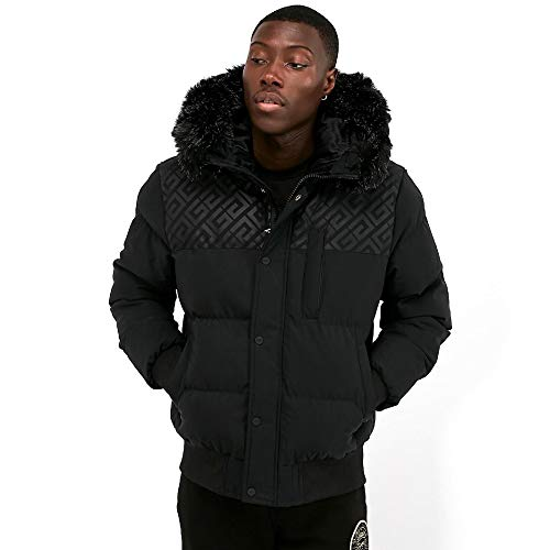 Glorious Gangsta | Bontate Faux Fur Puffa Parka Jacket - Black Large Black