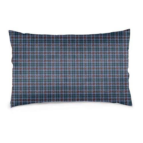 Funda de almohada Fizzy Jagged Plaid en azul piedra y marrón oxidado, protector de almohada decorativo, suave y acogedor, tamaño Queen estándar, 50,8 x 76,2 cm con cremallera oculta