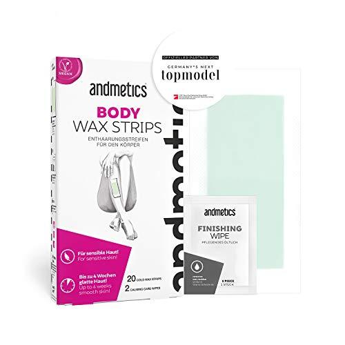 andmetics ART00000222 BODY wax strips: Kaltwachs Enthaarung Streifen Körper - für glatte Haut für bis zu 4 Wochen - 20 Anwendungen