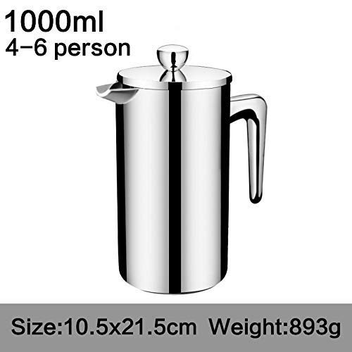 CTO Tablewares Coffee Pot Style Stainless Steel French Press Coffee Percolators Coffee Maker Best Double Wall Coffee Pot Giving One Filter Basket 350Ml,1000ml