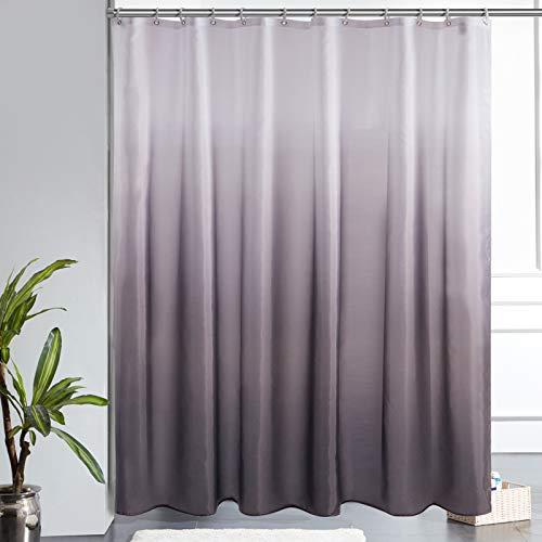 Furlinic Duschvorhang Badvorhang Anti-schimmel Textil für Badewanne Bad Vorhang aus Stoff Antibakteriell Waschbar mit 12 Duschringen Extra Groß Weiß nach Schwarz 200x200cm.