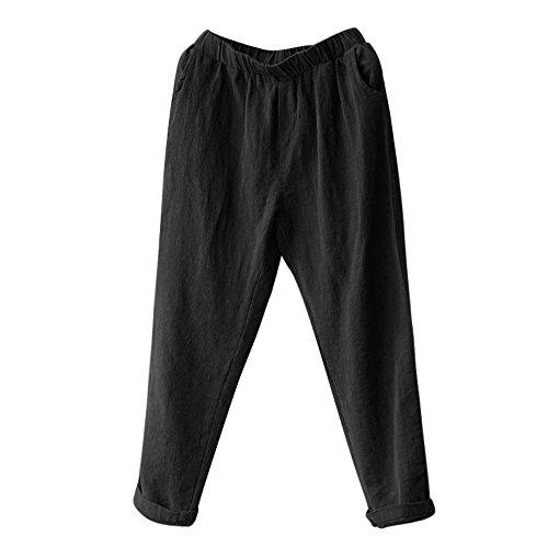 YWLINK Damen Kleidung,Mode Plus Size Frauen Leinen Pluderhosen Baggy Lose Hosen Einfarbig BeiläUfig Dame