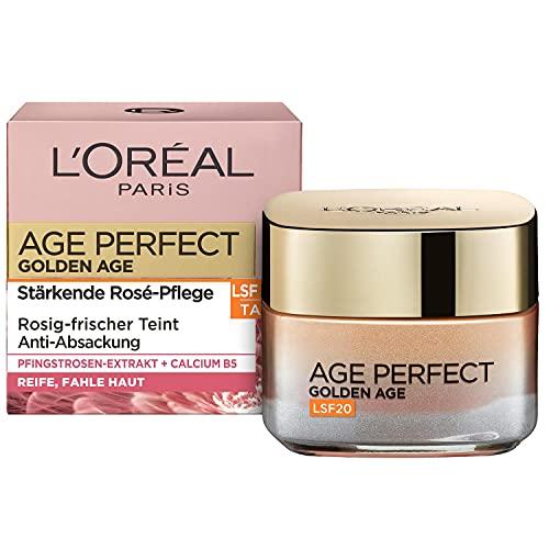 L\'Oréal Paris Tagespflege, Age Perfect Golden Age, Anti-Aging Gesichtspflege, Festigung und Glanz, Für reife und fahle Haut, LSF 20, Mit Pfingstrosen-Extrakt, 50 ml