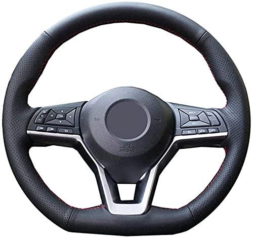 LIUJTAO Funda de Cuero para Volante de Coche Cosida a Mano, para Nissan X-Trail 2017-2019 Qashqai 2018 Rogue (Sport) 2017-2019-Black_Thread
