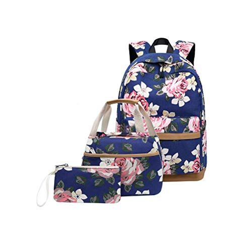 Mochila Escolares Mujer Mochila de Lona Canvas Backpack Laptop Mochila para Ordenador Portátil 15.6 Pulgadas, USB Charging Port