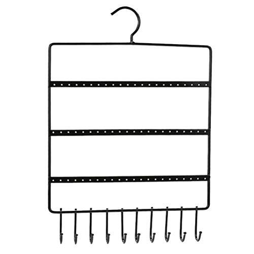 Cabilock Práctico 3-Llantas Colgantes de Metal Pendientes de pie montado en la Pared Pendiente del Pendiente para el Pendiente (Negro)