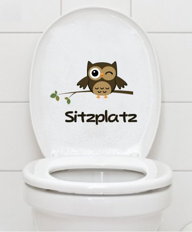 Autocollants Sitzplatz Chouette – Toilette WC salle de bain a043