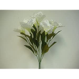 "JumpingLight Cream Amaryllis Bush Satin Artificial Flowers 23"" Bouquet 7-781CR Artificial Flowers Wedding Party Centerpieces Arrangements Bouquets Supplies"