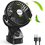 Desk Fan USB Fan Clip on Fan - FITFORT Battery Operated Rechargeable Fan with Cooling & Refreshing Natural Wind, 5200mAh Battery, 140° Auto Oscillation for Baby Stroller, Beds, Camping, and Travelling