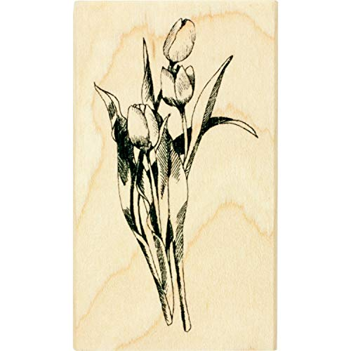 Inkadinkado Tulip Flower Arrangement Mounted Rubber Stamp for Card Making and Scrapbooking, 1.75'' x 3'' x 1''
