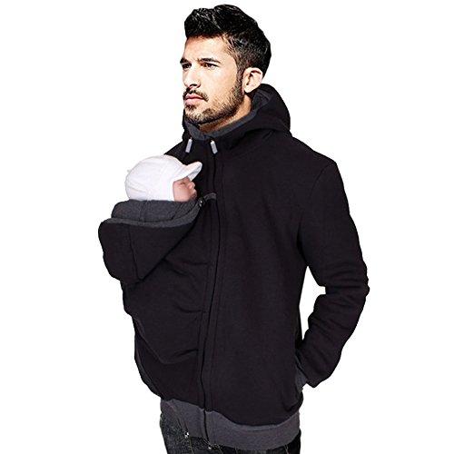 QQI [Verpackung EINWEG] Herren Herbst Winter Lange Ärmel Reißverschluss Warm Schwarz Pullover Kapuzen Sweatshirt mit Abnehmbare Babytrage