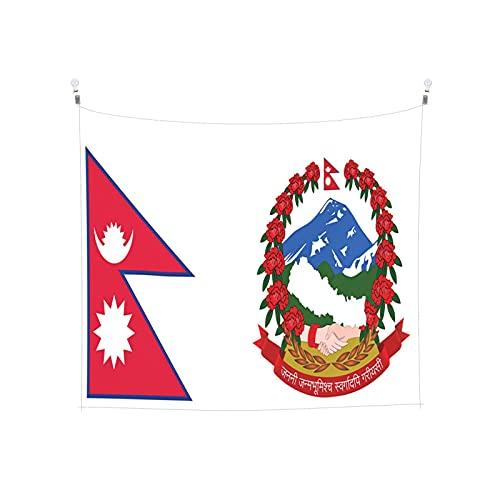 Nepal-Flagge offiziell Tapisserie, Wandbehang, Tarot-Boho, beliebte mystische Trippy-Yoga-Hippie-Wandteppiche für Wohnzimmer, Schlafzimmer, Wohnheim, Heimdekoration, schwarz & weiß Stranddecke