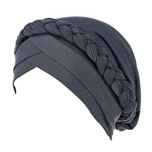 Lazzboy Frauen Indien Hut Muslim Solid Chemo Beanie Schal Wrap Cap Kopftuch Damen Headscarf Turban Bandana Kopftücher Headwrap Hijab Schals Kopfbedeckung(Grau)
