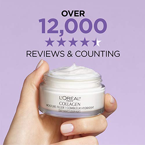 L'Oreal Paris Skincare Collagen Face Moisturizer, Day and Night Cream, Anti-Aging Face, Neck and Chest Cream to smooth skin and reduce wrinkles, 3.4 oz, Packaging May Vary
