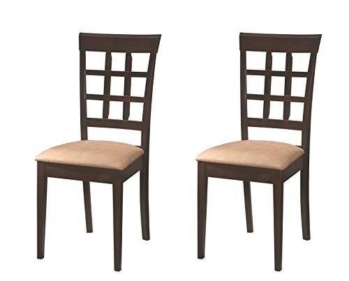 Coaster Home Furnishings Gabriel Modern Window Back Side Chair (Set of 2) - Cappuccino/Tan Microfiber