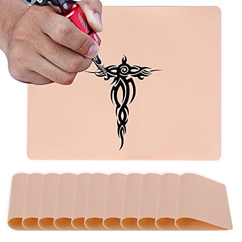 10 PCS piel Sintetica Tatuaje, piel Sintetica Microblading, Piel de Práctica para cejas Microblading para Suministros de Tatuaje, para Principiantes y Artistas del Tatuaje con Experiencia(Amarillo)