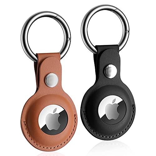 Klatovi Funda Llavero del Airtag Apple de Cuero,Típico Apple Airtag Funda Protectora,Protege al Airtag de Arañazos,Localizador de Llaves GPS para Bolsos, Mochilas y Mascotas