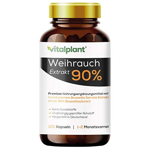 Vitalplant® Weihrauchkapseln hochdosiert im Braunglas - 600mg indisches Boswellia Serrata mit 90% Boswelliasäure in jeder Weihrauch Kapsel - 120st. Ohne Zusatzstoffe & rückstandskontrolliert
