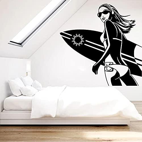 Pegatinas de pared de chica sexy calcomanías de viento de playa surf niñas habitación decoración de pared decoración de dormitorio pegatinas de tabla de surf A1 57x57cm