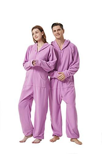 XMASCOMING Women's & Men's Hooded Fleece Onesie Pajamas Lavender Size US L