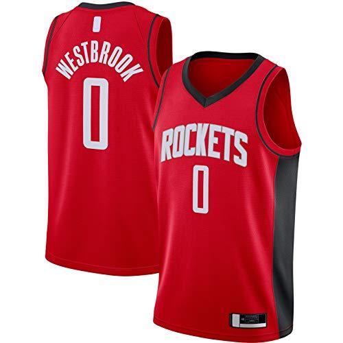 OYFFL Russell Jersey De Baloncesto Westbrook Sudadera Houston Manga Corta Rockets Sportswear #0 2020/21 Swingman Jersey Rojo - Icono Edition-S