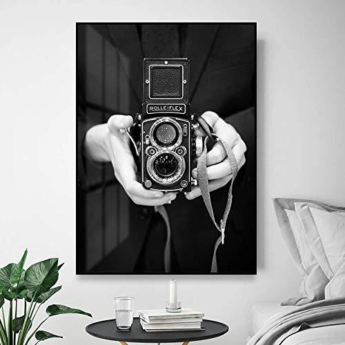 Cuadros de pared para el diseño del hogar Póster Pintura en lienzo en blanco y negro Vintage Chambre Cameraman Room Dormitorio Decoración 40x50cm (16x20in) Marco interior