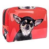Bolsa de Maquillaje Bolsas de Aseo Organizador de cosméticos Bolsa con Cremallera para Mujeres Hermoso Perro Chihuahua