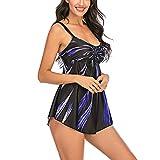 N/ D Women's Plus Size Bikini Swimsuit, Braided Rope Strap Swimsuit, Multi-Color Fireworks Printing Swimsuit (Blue Fireworks, L)