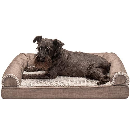 Furhaven Pet Dog Bed - Cooling Gel Memory Foam Plush Luxe Faux Fur and Performance Linen Traditional Sofa-Style Living Room Couch Pet Bed with Removable Cover for Dogs and Cats, Woodsmoke, Medium