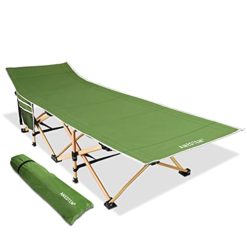 AMEDTEM Camping Cots, Sleeping Cots Backpacking Bed Oversized Folding Protable with Carry Bag,Travel Camp Cot for Heavy People Home Office Outdoor Hiking Beach Pool, Support 450LBS - Army Green