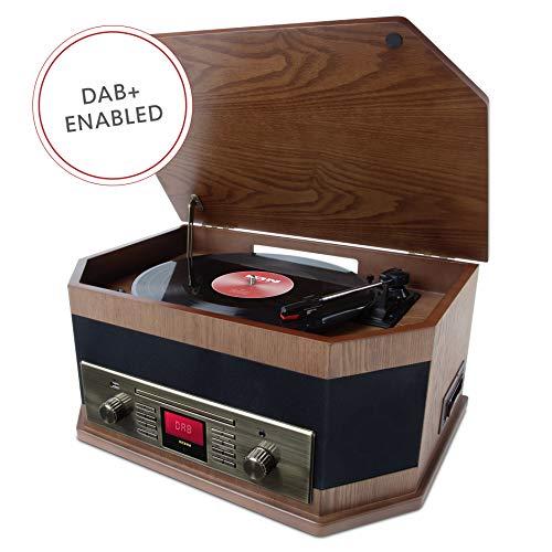 ION Audio Trio LP platenspeler in vintage-stijl met ingebouwde FM/MW radio en luidsprekers 8-in-1 bruin