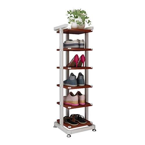 ZZYE Zapatero de 6 niveles de metal, organizador de zapatos de gran capacidad, estante de madera para zapatos, pasillo y tablero de partículas, soporte de flores, altura de 92 cm