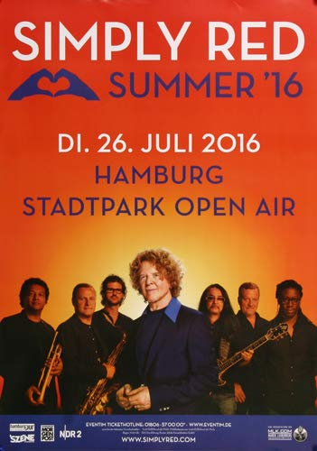 Simply Red - Summer, Hamburg 2016 » Konzertplakat/Premium Poster | Live Konzert Veranstaltung | DIN A1 «