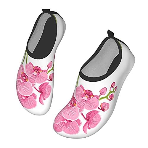 Nicokee Orkidé vattenskor tropisk blomma blommig växt gröna blad husdjur strand aqua yoga strumpor för män kvinnor, - Mul 0240 - 45 EU