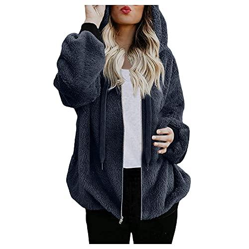 Alueeu Abrigo con Capucha para Mujer Otoño Invierno Chaqueta Jersey Felpa Hoodie con Cremallera Suelto Color Sólido Suéter Manga Larga Pullover Cálido Talla Grande