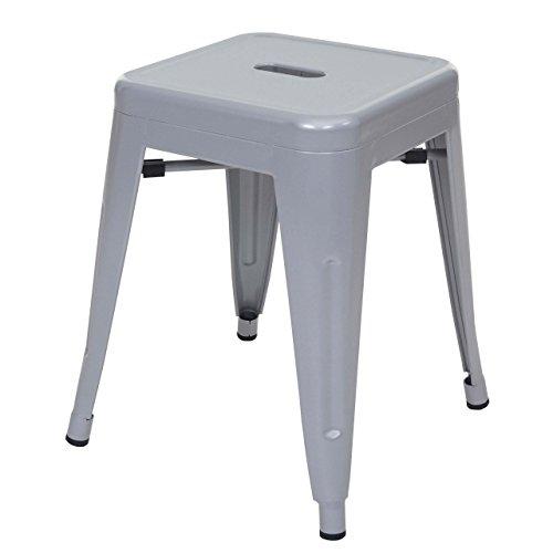 Hocker HWC-A73, Metallhocker Sitzhocker, Metall Industriedesign stapelbar ~ grau