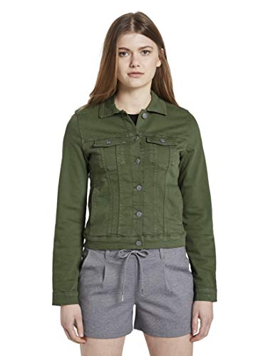TOM TAILOR Denim Damen Riders Denim Jeansjacke, 22517-olive Green, M