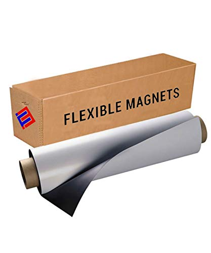 Flexible Vinyl Roll of Magnet Sheets - White - Super Strong & Ideal for Crafts, Store displays, Message Boards, Decorative Magnets and More - Commercial Inkjet Printable (2 ft x 3 ft x 15 mil)