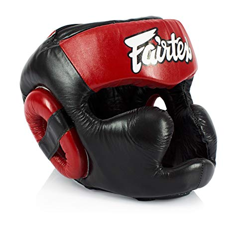 Fairtex Headgear Head Guard Super Sparring HG3, HG10, HG13 Diagonal Vision for Muay Thai, Boxing, Kickboxing (HG13 Black/Red,M)