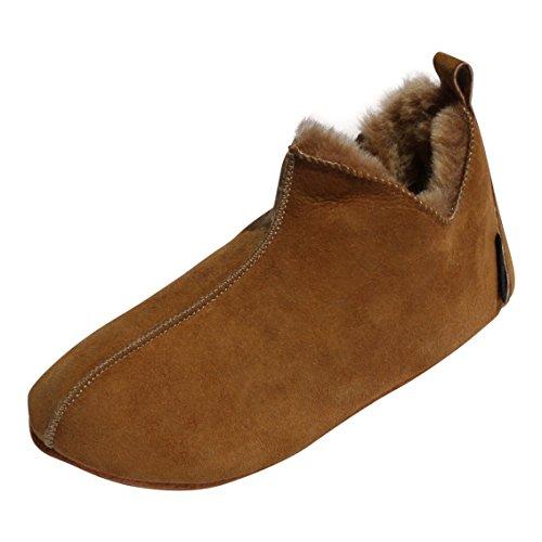 Hollert Lammfell Hausschuhe - Bali Fellschuhe Lederschuhe Bettschuhe Schuhgröße EUR 42, Farbe Cognac