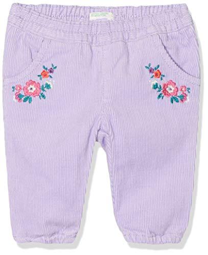 UNITED COLORS OF BENETTON Pantalone Velluto Costine Ricamo Fiori, Violet (Lilla 26g), 56/62 (Taille Fabricant: 56) Bébé garçon