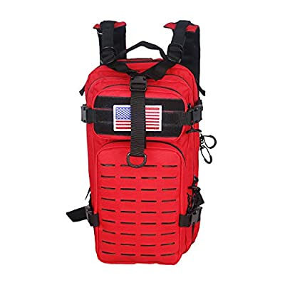 Warriors Product Small Assault Backpack Military Tactical Backpack Molle Bag with Flag Patch for Outdoor (RED)