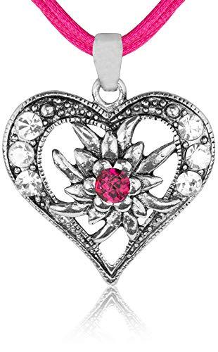 Halskette Sira mit Edelweiß Herz und Strass - Pink
