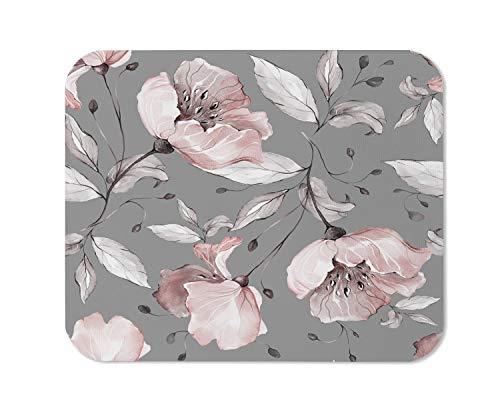 Yeuss Mauspad, rechteckig, rutschfest, Muster mit Frühlingsblumen und Blättern, Blumenmuster aus Stoff, Blumen, Rose, Gaming-Mauspad, Pink Grau, 200 mm x 240 mm